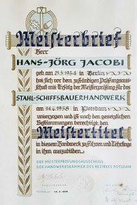 Meisterbrief und Meistertitel der Jacko Werft - Stahl-Schiffbauerhandwerk
